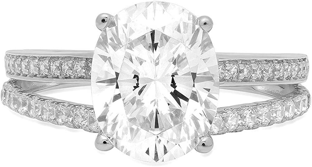 3.12 ct Brilliant Oval Cut Solitaire with Accent split shank Genuine Moissanite Ideal VVS1 & Simulated Diamond Engagement Promise Statement Anniversary Bridal Wedding Ring Solid 14k White Gold