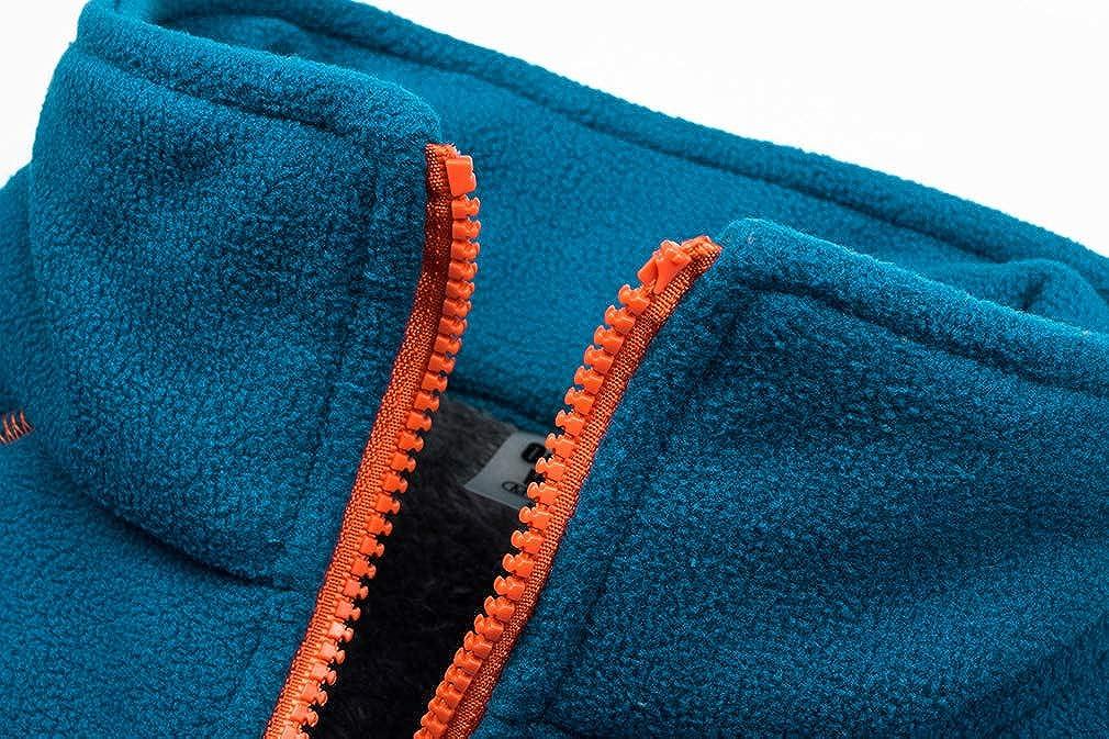 BOSOZOKU Mens Thermal Fleece Jacket Full Zip Long Sleeve Casual Bodywarmer Coat Outdoor Polar Fleece Jacket
