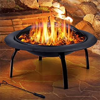 UBECHI Steel 30 Inch Outdoor Fire Pit BBQ Pits Grill Portable Fireplace Garden Patio Camping Heater