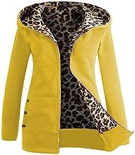 iYBUIA Leopard Women Plus Velvet Thickened Hooded Sweater Zipper Coat