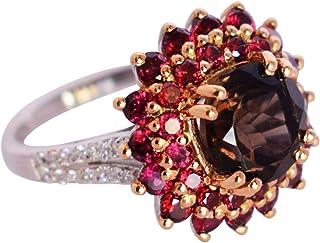 Ravishing Impressions Jewellery Impresionante anillo de plata de ley 925 de cuarzo ahumado y granate, joyería hecha a man...