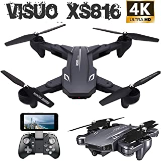 VISUO XS816 4k Drone with Camera Live Video, Teeggi WiFi FPV RC Quadcopter with 4k Camera Foldable Drone for Beginners - Altitude Hold Headless Mode One Key Off/Landing APP Control Long Flight Time