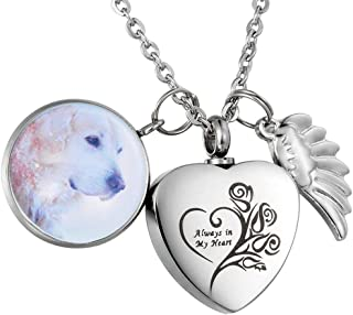 Always in My Heart Cremation Jewelry Heart Urn Necklace Personalized Custom Photo Locket