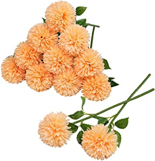 Tifuly 12 pcs Artificial Chrysanthemum Ball Flowers Bouquets for Bride Single Stem Plastic Hydrangea Silk Flowers for Wedd...