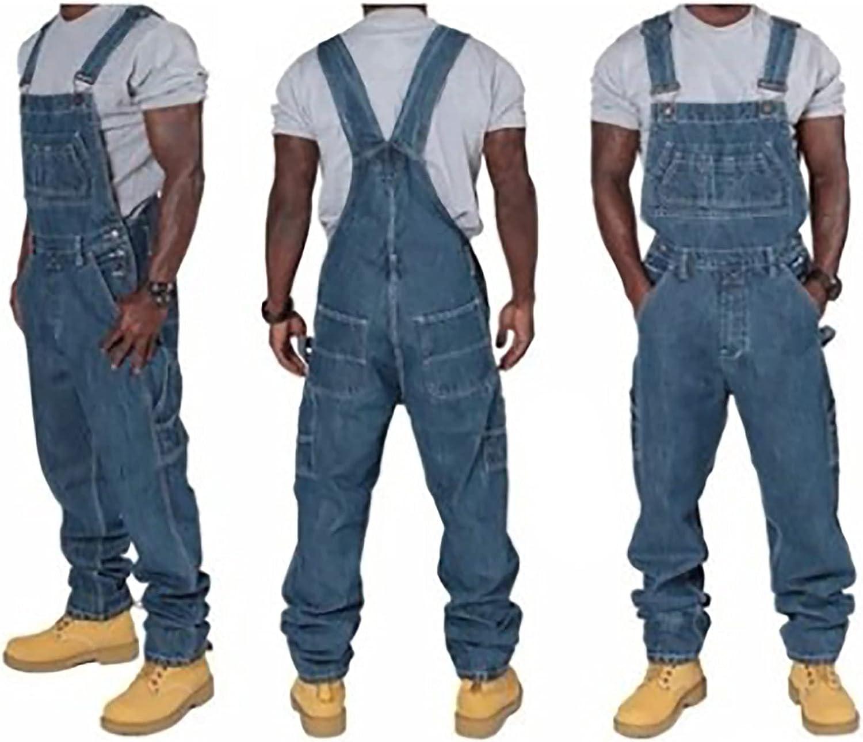 Men's denim overalls, loose jumpsuits, solid color straight overalls