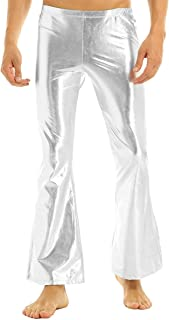 Men's Shiny Metallic Bell Bottom Flares Trousers 70s Vintage Long Pants
