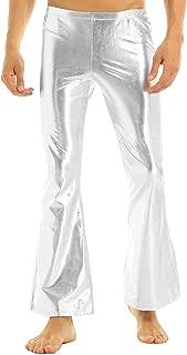 inhzoy Men's Shiny Metallic Fashion Dance Pants Holographic Disco Flared Pants Bell Bottom Trousers