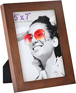 RPJC 5x7 Picture Frames Made of Solid Wood High Definition Glass for Table Top Display and Wall Mounting Photo Frame Brown