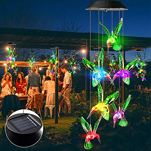 Solar Wind Chime Night Light - LED Waterproof Outdoor Hanging Garden Decorative Automatic Color Changing Wind Chime Night Light for Mom/Grandmother/Friend/Child (Hummingbird)