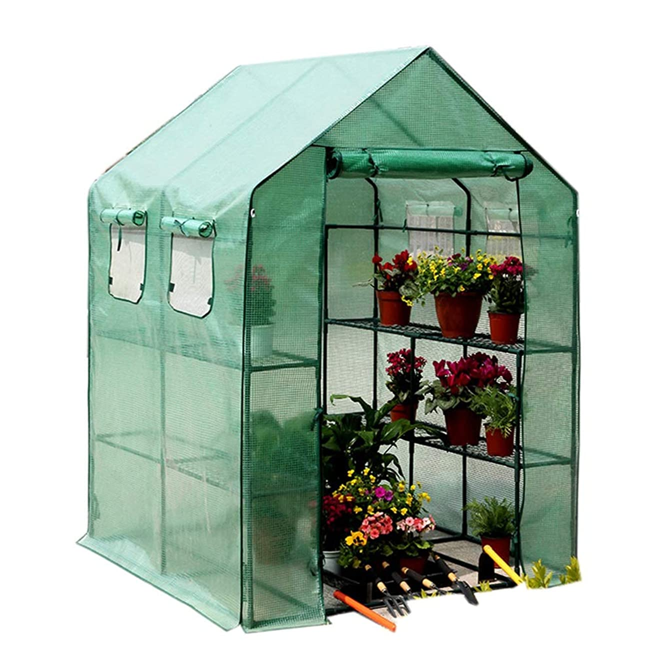 献身円形石膏ビニールハウス 温室 外の温室 - 12の棚及び強い補強カバーが付いている家庭用品の野菜/フルーツの温室、143×143×195cm 家庭用 ガーデニング温室 (色 : Green)