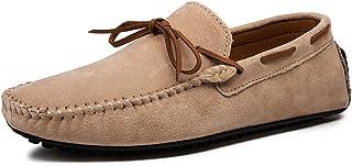 XFQ Chaussures Bateau pour Homme, Mode Chaussures Casual Frosted Cuir Sole Chaussures Mode De Conduite Légère D'été,Beige,...