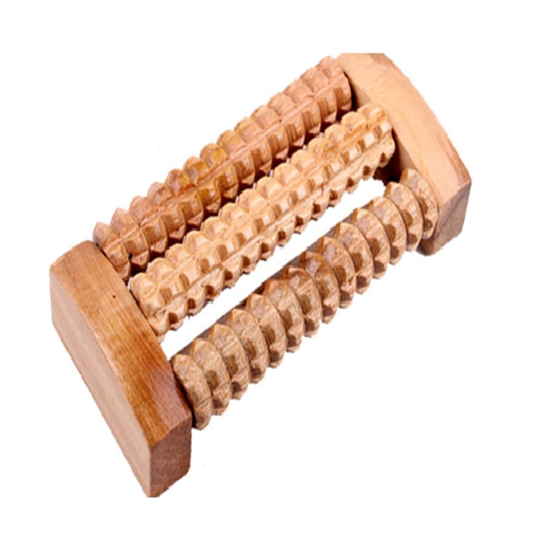 木グレートオーク雰囲気Smilemall フットマッサージ器 足裏 ツボ押し ローラー 木製 リラクゼーション 指圧療法 (木製 原色 (約14cm×7cm×3.5cm))