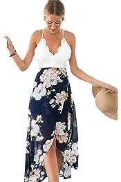7e86e3d4a7 Blooming Jelly Women s Deep V Neck Sleeveless Summer Asymmetrical Floral  Maxi Dress