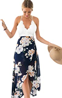 Blooming Jelly Women s Deep V Neck Sleeveless Summer Asymmetrical Floral  Maxi Dress bb8deb9f0