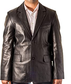 Mens Black Smart Casual Classic Tailored Fit Leather Blazer with 2 Back Vent