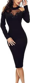 Women Floral Applique Lace Ruched Bodycon Midi Dress