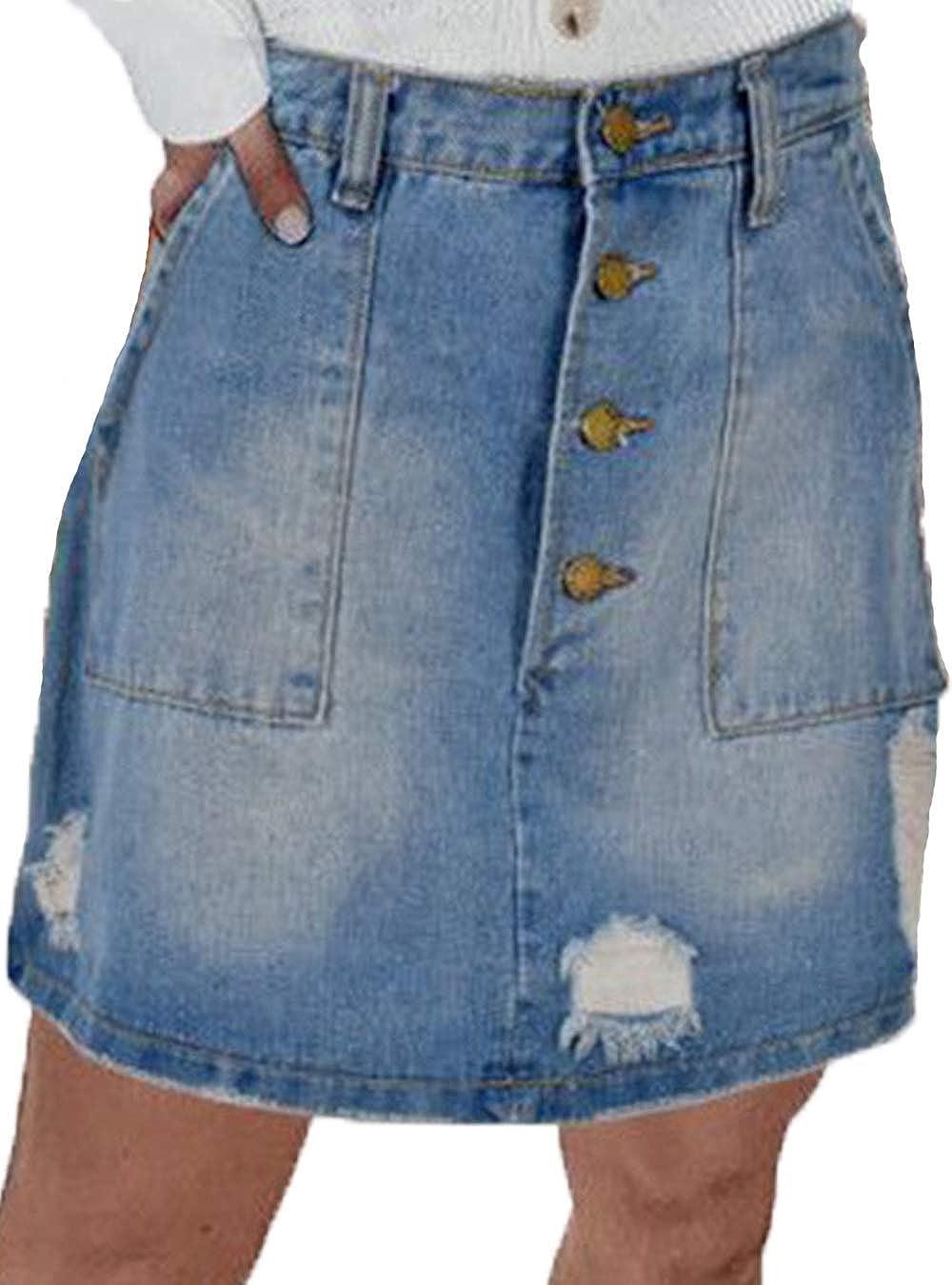 Women Bodycon Denim Skirts Ripped High Waisted Button Down Aline Midi Skirt