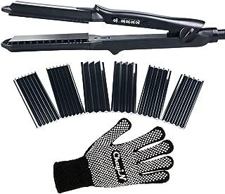 CkeyiN® 4 en 1 Multifunción Intercambiables Plancha de pelo para el peinado alisado/rizos Maíz, onda Placas de Cerámica Temperatura ajustable 160°C-220°C