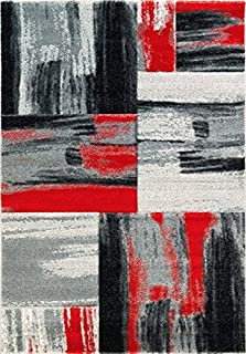 Ladole Rugs Soft Abstract Area Rug Living Room Bedroom Entrance Hallway Carpet in Red Black Grey 5x8 (5'3