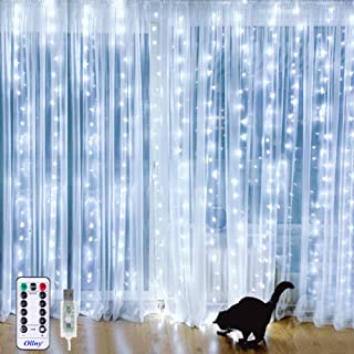 Ollny Curtain String Lights 9.8ft x 9.8ft 304 LEDs Cool White Indoor Window Curtain Lights USB Powered with Remote Timer for Bedroom Party Home Garden Indoor Outdoor Wall Decorations IP44 Waterproof