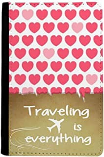 Valentine's Day Pink Red Heart Spots Traveling quato Passport Holder Travel Wallet Cover Case Card Purse