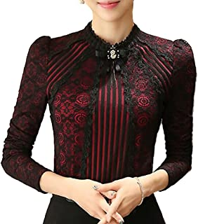 SansoiSan Women's Vintage Beaded Buttons Pleated Shirt Long Sleeve Lace Stretchy Blouse
