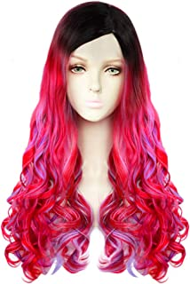JoneTing Red and Purple Cosplay Synthetic Long Natural Wavy Wigs Hair for Kids (Red and Purple)