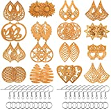 182 Pieces Wooden Dangle Earring Making Kit, Include 32 Pieces African Wood Drop Earring Pendant Unfinished Earrings Wood Charms with 100 Jump Ring 50 Earring Hooks or Earring Clips (Light Coffee)
