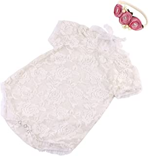 Newborn Photography Props Backless Hollow Bowknot Lace Costume Baby Romper Headband Infant Photo Outfits Baby Girls Photo ...