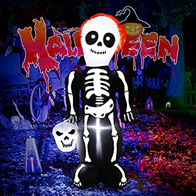 FastDeng 5Ft Halloween Inflatables Tall Skeleto...