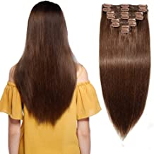 "12"" / 12 inch 110g Double Weft 100% Remy Human Hair Clip in Extensions Grade 7A Quality Full Head Thick Thickened Long Short Straight 8pcs 18clips for Women Beauty #4 Medium Brown"