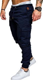 comprar comparacion SOMTHRON Hombre Cinturón de Cintura elástico Pantalones de chándal de algodón Largo Jogging Pantalones de Carga Deportiva ...
