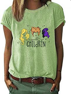 UNIQUEONE Halloween Shirts for Women I Smell Children Funny T-Shirt Women Sanderson Sisters Shirt Short Sleeve Tops Tee