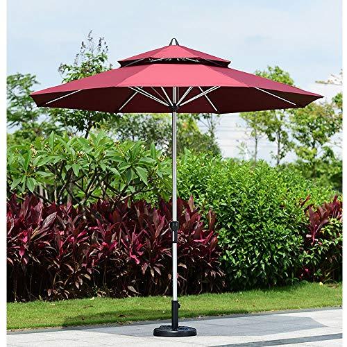 Paraguas al aire libre del pilar central de 2.7 m Parasol de sombrilla de jardín para el jardín Paraguas de patio en el patio trasero, plegable portátil con cigüeñal y varilla de aluminio de 38 mm sin