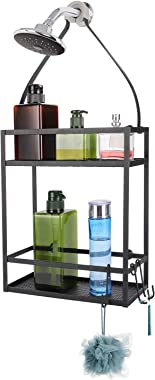 Minggoo Shower Caddy Organizer,Mounting Over Shower Head Or Door,Extra Wide Space for Shampoo, Conditioner, and Soap with Hoo