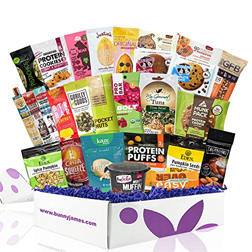 High Protein Healthy Snacks Fitness Box: Mix Of Natural Organic Non-GMO Protein Bars Cookies Granola Mix Jerky Nuts Premium Care Package, Perfect Gift