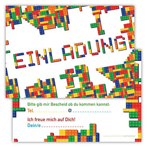 Einladungskarten für Kindergeburtstage für Jungen oder Mädchen (Bricks, 12 Stück im Kartenset)