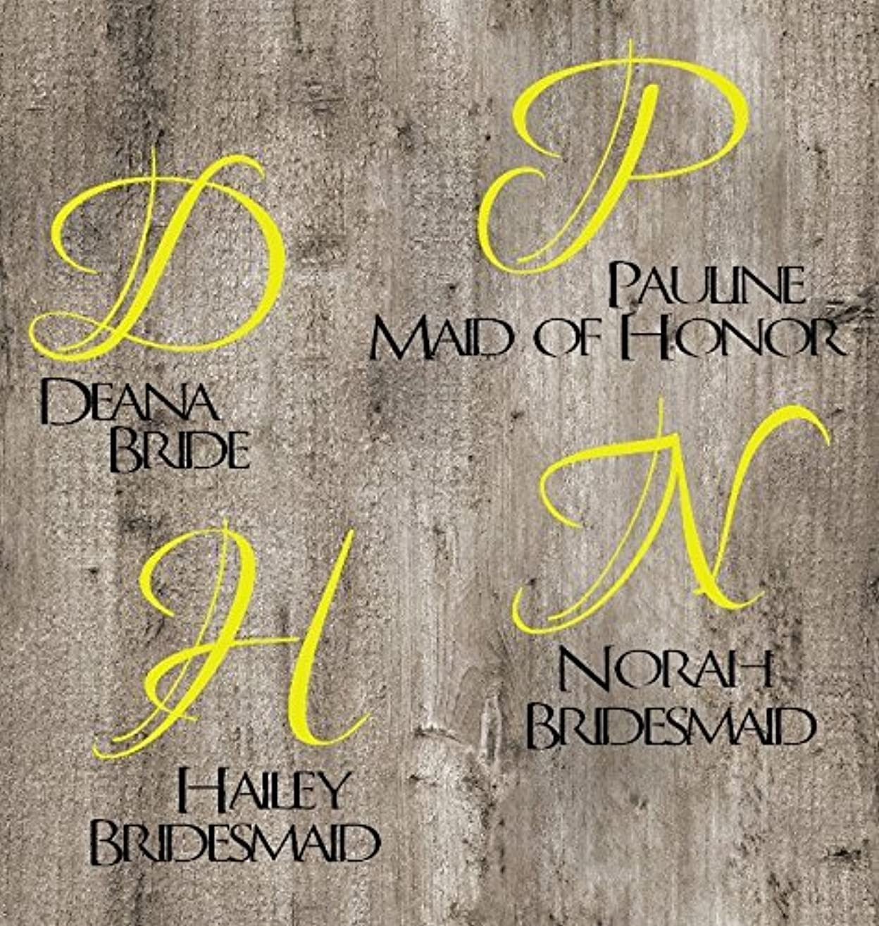 Set of Bride, Maid of Honor, and 2 Bridesmaid Decals. Customize the color, name, and size. Perfect for windows, wine glasses, flasks, Yeti cups, bridesmaids gift, water bottle, etc.