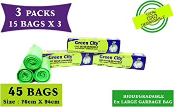 Green City- Garbage Bag |Extra-Large: 76CmX94Cm | 3 Pack of 15bags- 45Bags | 100% OXO-Biodegradable Eco-Friendly Dustbin Bags - Green