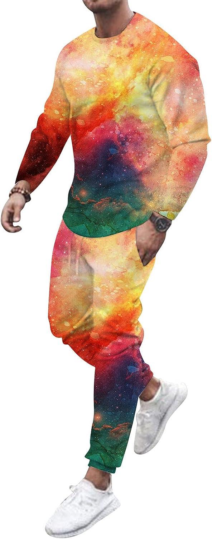 Mens 2 Piece Tracksuit Sets Tie Dye Graffiti Casual Long Sleeve Jumpsuit Sweatsuits Muscle Tops Sports Pants Sets