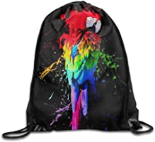 MCWO GRAY Pigment Parrot Drawstring Bag Backpack Draw Cord Bag Sackpack Sport Bag Gym Bag Large Lightweight Gym For Men And Women Hiking Swimming Yoga