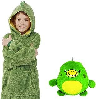 Children Blanket Sweatshirt Folding Car Pillow Plush Hooded Pullover Bathrobe One Size for All Children, 2 in 1