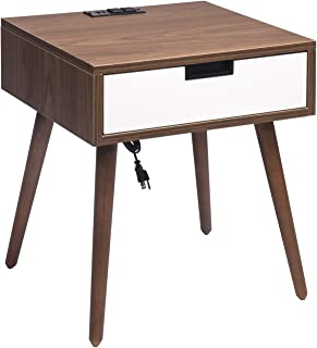 Nightstand End Table with Drawers Storage, Frylr Bedside Table Latest with 2 Power Sockets and 2.1A USB Charging Ports Design for Living Room Sofa, Light Walnut and White