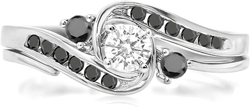 Max 69% Fixed price for sale OFF Dazzlingrock Collection 0.50 Carat ctw Black 10k White Round