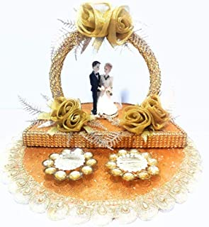 GiftsBouquet Wood Ring Platter, Gold