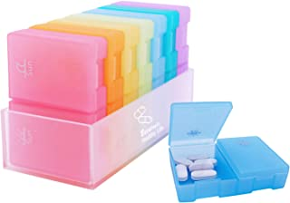 Estefanlo Weekly Pill Organizer, 7 Day Pill Box (2 Times a Day), Portable Travel Pill Case with Large Compartments to Hold Pills,Vitamin, Fish Oil, Supplements and Medication