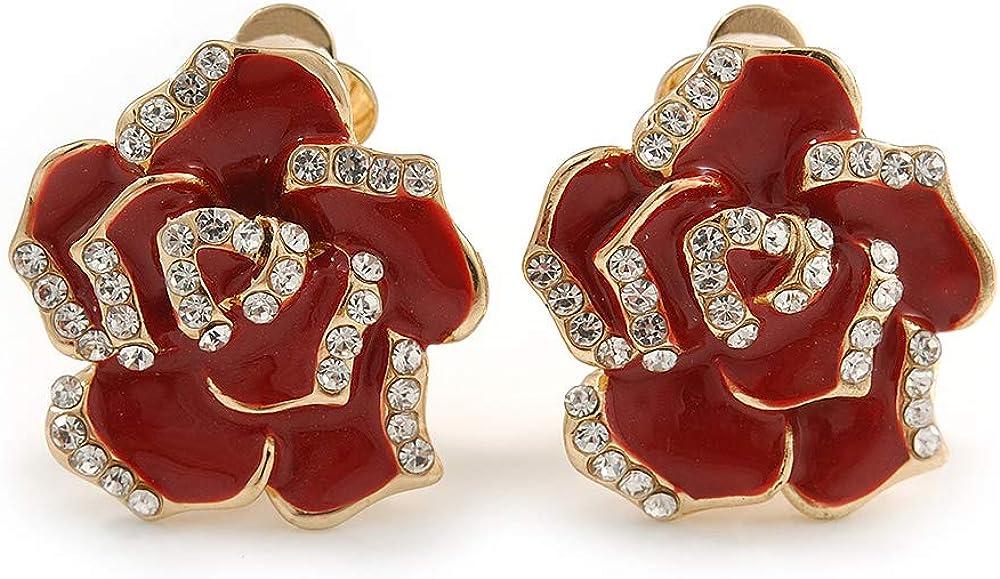 Romantic Red Enamel Clear Crystal Rose Clip On Earrings In Gold Tone - 20mm Diameter