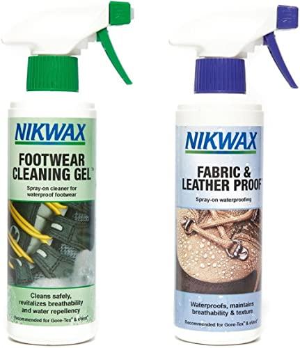 Nikwax Footwear Twin Pack – for cleaning and re-waterproofing your footwear   Footwear Cleaning Gel 300ml  Fabric and...