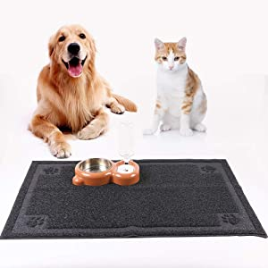 KITAINE Pet Feeding Mat for Dog Cats Waterproof Large XL Dog Mat for Food & Water Bowls Feeders Dishes Easy to Clean Cat Dog Food Mats Non-Slip for Floors