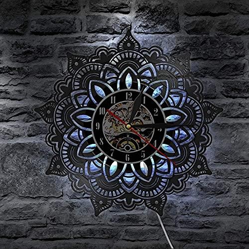 Reloj de pared con luz LED de 7 colores, diseño de mandala de flores, silencioso, indio para dormitorio, decoración de pared, diseño de mandala semillas, satori yoga recuerdo